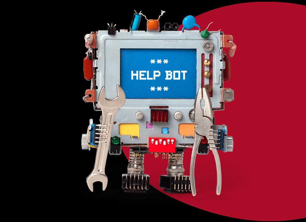 Roboter mit Display, welches Help Bot anzeigt